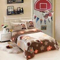bedroom sets boys - Kids cartoon bedding sets boys girls twin size doona quilt duvet cover cotton bed sheets bedspread bedroom linen Monchhichi bedlinen