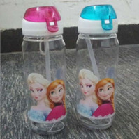 Wholesale Frozen Water Bottles High Quality Drinkware Frozen Anna and Elsa PP Texture Suction Cups Kids Cartoon Water bottle Sports Bottle Y30115