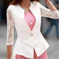 Cheap Autumn Womens Business Suits V Neck Solid Slim Women Blazers And Jackets Coat White Black Blazer Women Blaser Feminino XL ZDD
