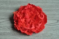 Wholesale 5 quot Large Lace Peony Flowers Silk Peony Flowers Brooch Hair Bows Trial order QueenBaby