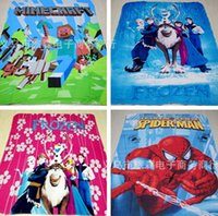 Wholesale New D Cartoon Frozen Elsa Anna Olaf blanket pigs Minecraft polar fleece carpet mat the gift for children child baby Kids blank