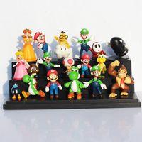 18pcs / lot Super Mario Bros dinosaure Yoshi Peach crapaud Goomba PVC Figurines jouet Livraison gratuite