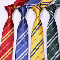 Wholesale 20PCS colors Harry Potter Tie for man collage tie Costume Accessory plaid stripe tie neckties Gryffindor Slytherin Ravenclaw Hufflepuff