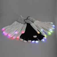 Wholesale Men Women Nylon LED Rave Light Finger Glow Mitt Night Club Lighting Flashing Gloves White Black