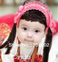 artificial hair bangs - Freeshipping Satin Fabric With Lace Band And Bang Baby Headband girls kids photograph prop hair accessories10pcs FDB26