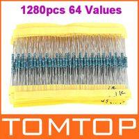 Resistencias de película metálica Surtido del kit de 1280pcs 64 Valores 1 ohm - 10M ohm 1 / 4W orden $ pista 18Nadie