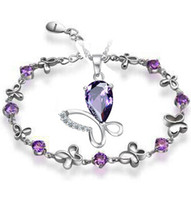 Wholesale Purple Silver AAA Jewelry Sets for Women Butterfly Sets Solid Silver