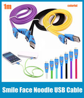 Wholesale 1m ft Visible Led Light Smile Face Flat Noodle USB Data Sync Charger Cable Adapter For Samsung Galaxy S5 s4 s3 CAB005