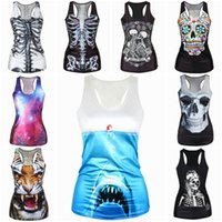 Wholesale Fashion Mixed Style Women Clothing Latest Women Tops Cool D Skull Printed Camisole ERY