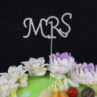 Wholesale 2015 New Birthday Cake Decoration Letter quot MR quot quot MRS quot Pattern Cake Topper Party Cake Crystal Rhinestone Double Heart Cake Topper Gifts