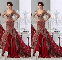 Wholesale Luxury Dubai Arabic Middle West Country Red Mermaid Long Sleeve Wedding Dresses Bridal Gowns Sweetheart Gold Appliqued Lace Ruffled Trains