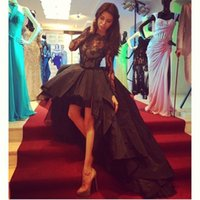 Wholesale 2015 Prom Dresses Hi lo Special Occasion Appealing High Low Black Ball Gown Taffeta Short Front Long Back Lace Sheer Long Sleeve Party Gowns