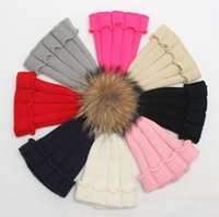 Wholesale kids crochet hats baby winter caps children Raccoon fur pom poms hat fashion girl boy beanie skull cap toddler knitted bonnet colo