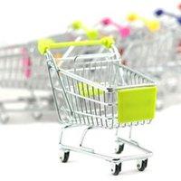 Wholesale Cute shopping Cart Mobile Phone Holder Pen Holder Mini Supermarket Handcart Shopping Utility Cart Phone Holder