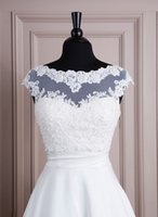 wrap dress - Wraps Lace Spring Sleeveless With Sequin Appliques White Romantic Bridal Jackets lace wedding dress bolero wedding jacket Bridal Wraps