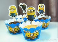 Wholesale Cartoon Despicable Me Minions Cupcake Wrapper Decorating Boxes Cake Cup With Toppers Picks For Kids Birthday Christmas Decorations Supplies