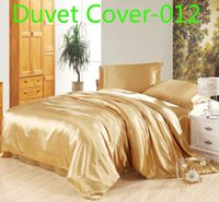 Wholesale Luxury golden Duvet Cover silk Satin Twin Full Queen King size Single Double quilt cover comforter cover Duvet Cover Bedding Supplies