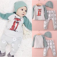 baby girl vest - 2015 Newborn Baby Infant Boys Girls Fox Long Sleeve Cotton Romper Jumpsuit Set M