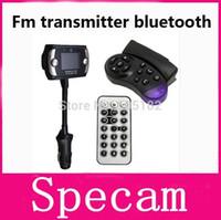 Wholesale 1 Inch LCD Screen FM Transmitter FM Modulator Bluetooth Car Kits car MP3 MP4 Player Support SD MMC Steering Wheel Mount