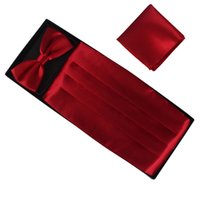 Wholesale perfect MEN SILK Cummerbunds bow tie chin flap three piece a set in a box can mix color
