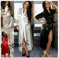 Wholesale 2015 New Sexy Pyjamas Lingerie Satin Sleepwear Silk Robe Soiree Elegant Women Bathrobe Long Dress Nightdress for Party Red Black White