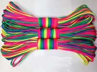 Wholesale 100ft m rainbow paracord Paracord colorful paracord Parachute Cord Lanyard Rope Mil Spec Type III core strand