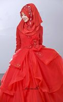 Cheap 2015 New Arabic Wedding Dresses With High Neck Long Sleeves Red Designer Wedding Dresses 2015 Long Tulle Bridal Gown L030220