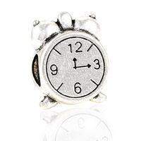 Silver alarm clock charm - Alloy Beads Spot Round Chamilia DIY Alarm Clock beads Spacer Murano Chunky Bead Charm Fit For Pandora Bracelet Charms B031