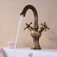 bath sink faucets single handle - Classic Double handle Single Hole Bath Faucet Rotating Copper Antique Pots Vegetables Water Tap Sink Faucets HJ F