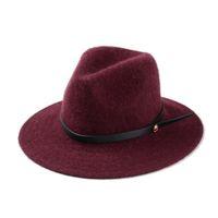 Wholesale High Quality Wide Brim Floppy Top Hats Warm Wool Felt Hat Fedora Bonnet Jazz Caps Trilby Woolen Bowler Cap With Black Strap H114