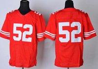 Cheap #7 #52 Elite American Football Jerseys Red Football Jerseys Shirts Brand Mix Order Players Uniforms top Football Kits