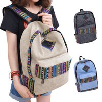 Wholesale S5Q Women Travel Canvas Backpack Ethnic Vintage Schoolbag High capacity Book bags AAADVC