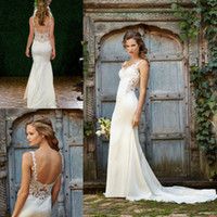 Wholesale 2017 Country Wedding Dresses Sexy Mermaid Spaghetti Strap Lace Wedding Dress Open Back Sleeveless Court Train Summer Beach Wedding Dresses