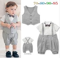 Boy Summer 100% Cotton Summer Baby Infants Bodysuits Gentleman Newborn Kids Outfits Short Sleeve One-Piece Tie Romper+Striped Waistcoat 2Pcs Sets Boys Suits J3872