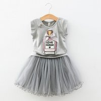 perfume set - 2016 Childrens Korean Style Elegant Perfume Bottle Sequined Fashion Set Sleeveless T shirt And Gauze Pleated Skirt Two Pieces Set