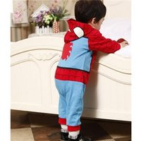 Wholesale 2015 Newborn Baby boy bodysuits clothes Romper Spiderman Long Sleeve with Smock Infant Cartoon Christmas Costume clothing set