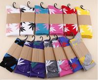 fashion socks - Mulitcolor Colors High Crew Weed Socks Comfortable High Skateboard Socks Knee High Cotton Sports Socks Unisex Sport Socks Fast Shipping