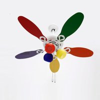 Wholesale 42 quot Modern Kid s Bedroom Ceiling Fan Lamp Colorful Wooden fan blade children s study room ceiling lighting fixtures Glass Lampshde