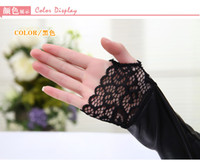 armed dance - Fingerless black sexy warmer Disco dance costume party lace synthetic pu Leather gloves arm warmer