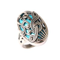 Wholesale New Arrival Unisex Ring Music Note Acrylic Jewelry Simple Silver Plated High Quality Vintage Black Geometry