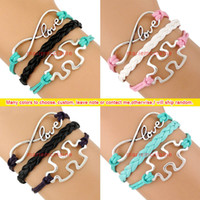 autism awareness - Infinity Wish Love JigSaw Puzzle Piece Autism Awareness Charm Wrap Bracelets Leather Bracelets Wax Unisex Women Men Bracelets Fashion Gift