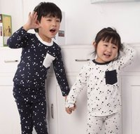 Wholesale Pink ideal Spring New Children Pajamas Star Print brother and sister Long Sleeve Underwear T
