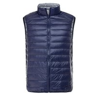 Wholesale Fall Men s Ultra Light Down Double Sided Zipper Puff Gilet Vests Jackets Waistcoat Winter Jackets Colors