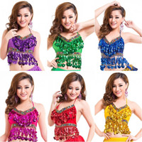 Wholesale Sexy Handmade Belly Dance Bra tops Crystal Sequins Beads Bells Peppers Costumes