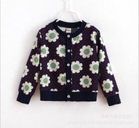 Wholesale 2015 Children Clothing Spring Autumn Boys Girls Long Sleeve Floral Printed Knitted Cardigan Single breasted Sweater Shirt Kids Child Outwear