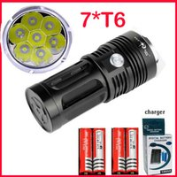 Wholesale free Epacket SkyRay x XM L T6 LED Mode Hunting Flashlight Lumens Flash Light Lantern T6 LED Torch Battery Charger