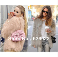 Wholesale Super quality Women s Faux Fur jacket Coat inches Long Hairy Long sleeve Shaggy Outwear Autumn Winter Tops