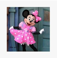 Wholesale wedding Minnie mascot costume pink Minnie mouse mascot costume send you a mini fan