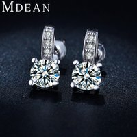 Wholesale MDEAN White Gold Plated CZ diamond AAA stud Earrings for women Engagement jewelry Classic Brincos Bijoux ME039