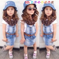 Wholesale Girls Outfits Set Summer Clothes Shirt Suspender Skirt With Belt Scarf Pieces Romper Baby Children Jeans Skirt Western Sashes